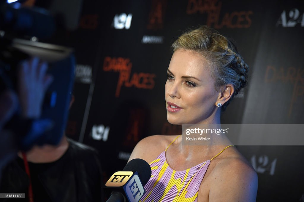 Actress Charlize Theron attends the premiere of DIRECTV's 'Dark Places' at Harmony Gold Theatre on July 21, 2015 in Los Angeles, California.