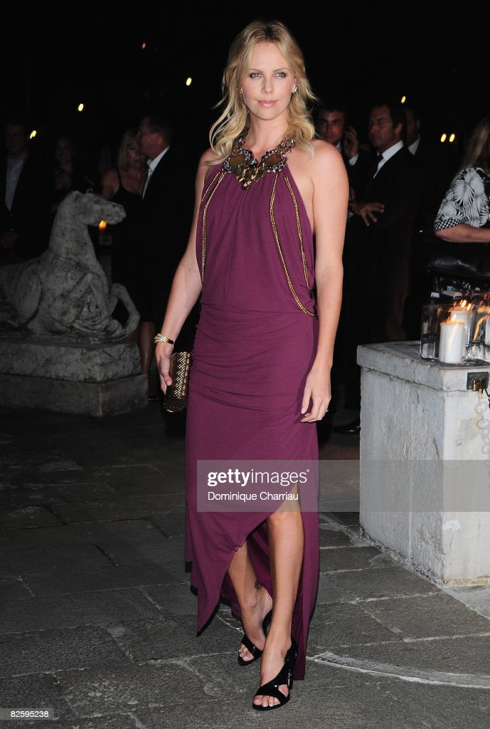 Actress <a gi-track='captionPersonalityLinkClicked' href=/galleries/search?phrase=Charlize+Theron&family=editorial&specificpeople=171250 ng-click='$event.stopPropagation()'>Charlize Theron</a> attends the Valentino: The Last Emperor Party during the 65th Venice Film Festival held at the Peggy Guggenheim Museum on August 28, 2008 in Venice, Italy.