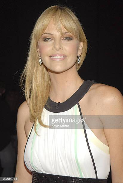 Actress Charlize Theron backstage at Conde Nast Media Group presents Movies Rock at the Kodak Theater on December 2 2007 in Los Angeles