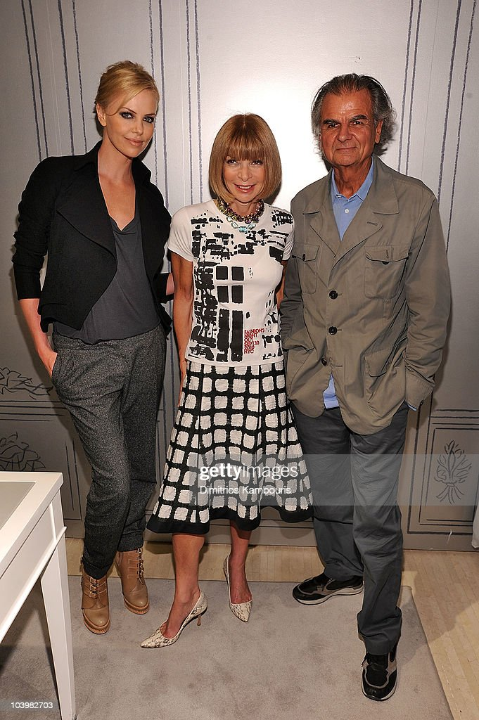 Actress Charlize Theron EditorinChief of Vogue Anna Wintour and photographer Patrick Demarchelier attend the Dior celebration of Fashion's Night Out...