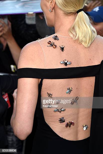 Actress Charlize Theron fashion detail attends the premiere of Universal Pictures' 'The Huntsman Winter's War' at the Regency Village Theatre on...