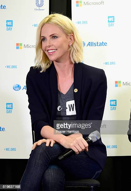 Actress Charlize Theron speaks in the press room at WE Day California 2016 at The Forum on April 7 2016 in Inglewood California