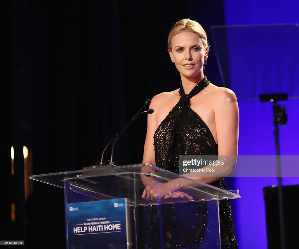 Actress Charlize Theron speaks onstage at the 4th Annual Sean Penn Friends HELP HAITI HOME Gala Benefiting J/P Haitian Relief Organization on January...