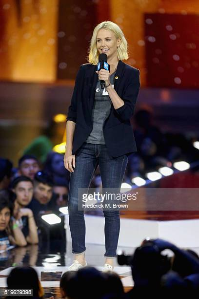 Actress Charlize Theron speaks onstage at WE Day California 2016 at The Forum on April 7 2016 in Inglewood California
