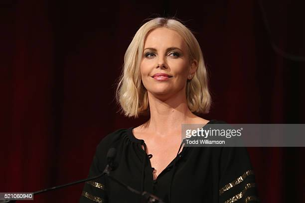 "Actress Charlize Theron speaks onstage during the 2016 Will Rogers ""Pioneer of the Year"" Dinner Honoring Donna Langley at Caesars Palace during..."