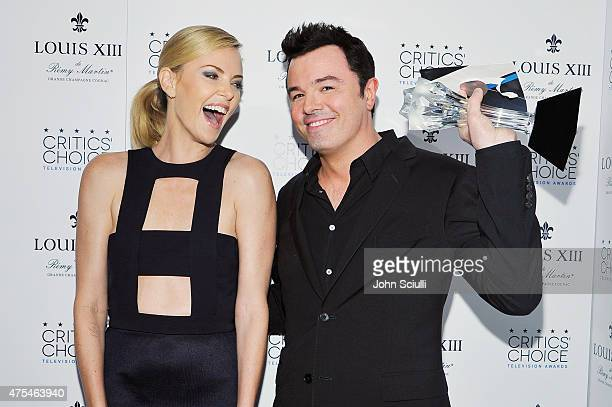Actress Charlize Theron with television series creator Seth MacFarlane winner of the Critics' Choice LOUIS XIII Genius Award attend the 5th Annual...