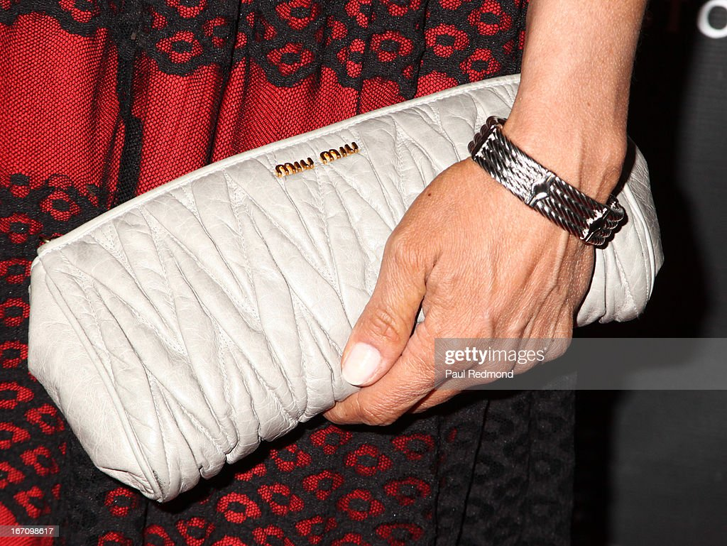 Actress Charlotte Ayana (purse detail) attends Sue Wong's Great Gatsby Fall 2013 Collection on April 19, 2013 in Los Angeles, California.