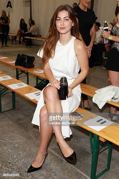 Actress Charlotte Best attends the Dion Lee show during MercedesBenz Fashion Week Australia 2014 at 7 Danks Street Waterloo on April 9 2014 in Sydney...
