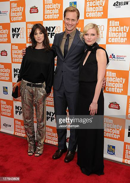 Actress Charlotte Gainsbourg actor Alexander Skarsgaard and actress Kirsten Dunst attend the premiere of 'Melancholia' during the 49th annual New...