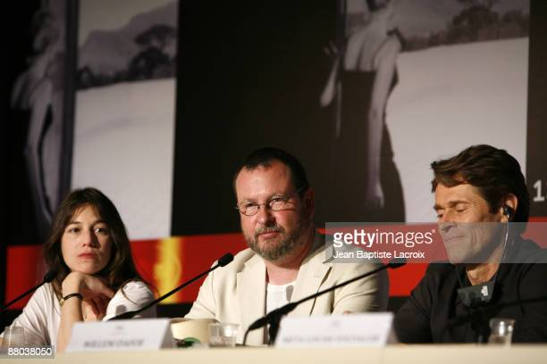 Actress Charlotte Gainsbourg director Lars Von Trier and actor Willem Dafoe attend the 'Antichrist' press conference held at the Palais Des Festivals...