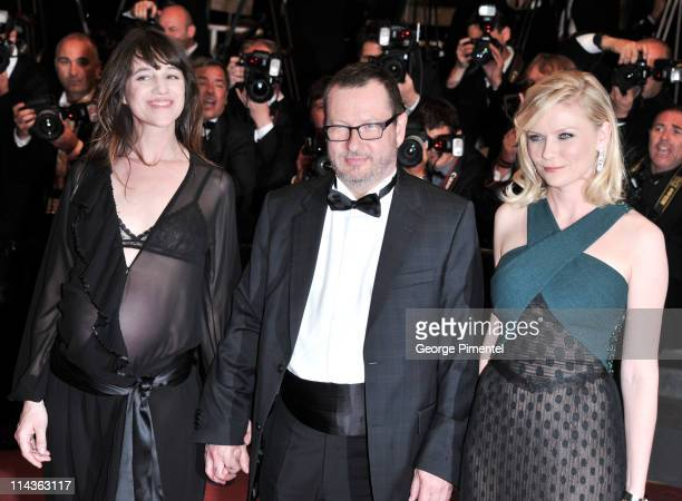 Actress Charlotte Gainsbourg director Lars von Trier and actress Kirsten Dunst attend the 'Melancholia' Premiere during the 64th Cannes Film Festival...