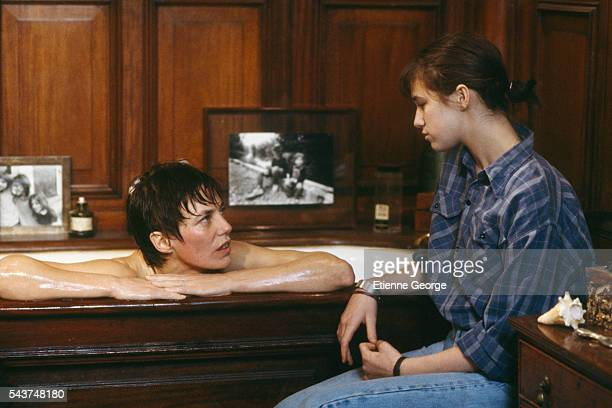 Actress Charlotte Gainsbourg with her mother actress and singer Jane Birkin on the movie set of 'Jane B par Agnès V' directed by Agnès Varda