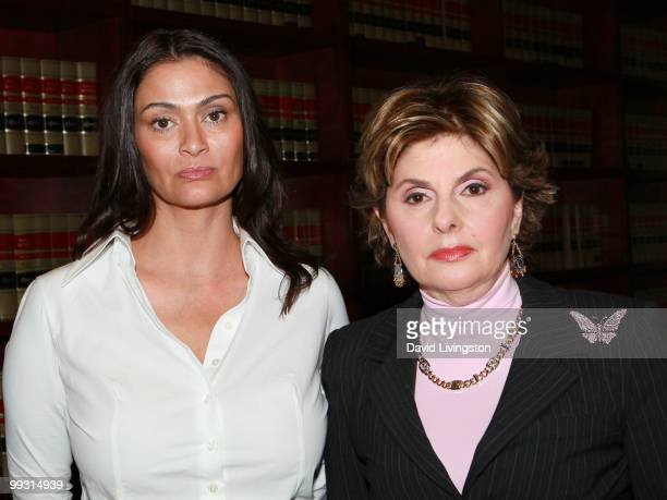 Actress Charlotte Lewis and lawyer Gloria Allred pose during a press conference on May 14 2010 in Los Angeles California Charlotte Lewis alleges that...