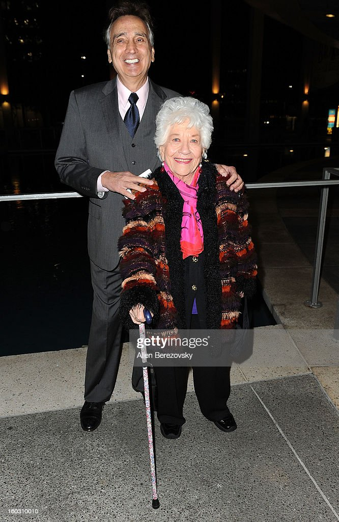 Actress <a gi-track='captionPersonalityLinkClicked' href=/galleries/search?phrase=Charlotte+Rae&family=editorial&specificpeople=757171 ng-click='$event.stopPropagation()'>Charlotte Rae</a> and a guest arrive at the 'Enter Laughing, The Musical' staged reading and benefit at Mark Taper Forum on January 28, 2013 in Los Angeles, California.