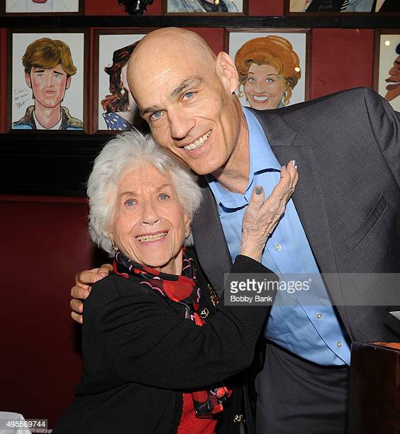 Actress Charlotte Rae and her son Larry Strauss promotes her book 'The Facts of My Life' at Sardi's on November 3 2015 in New York City