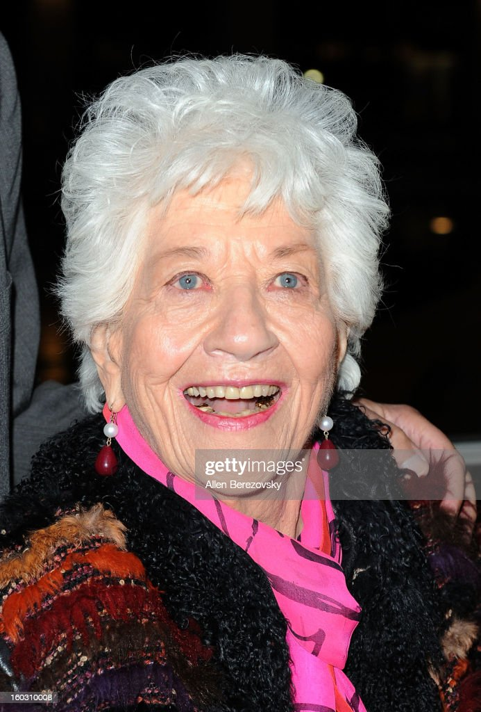 Actress <a gi-track='captionPersonalityLinkClicked' href=/galleries/search?phrase=Charlotte+Rae&family=editorial&specificpeople=757171 ng-click='$event.stopPropagation()'>Charlotte Rae</a> arrives at the 'Enter Laughing, The Musical' staged reading and benefit at Mark Taper Forum on January 28, 2013 in Los Angeles, California.