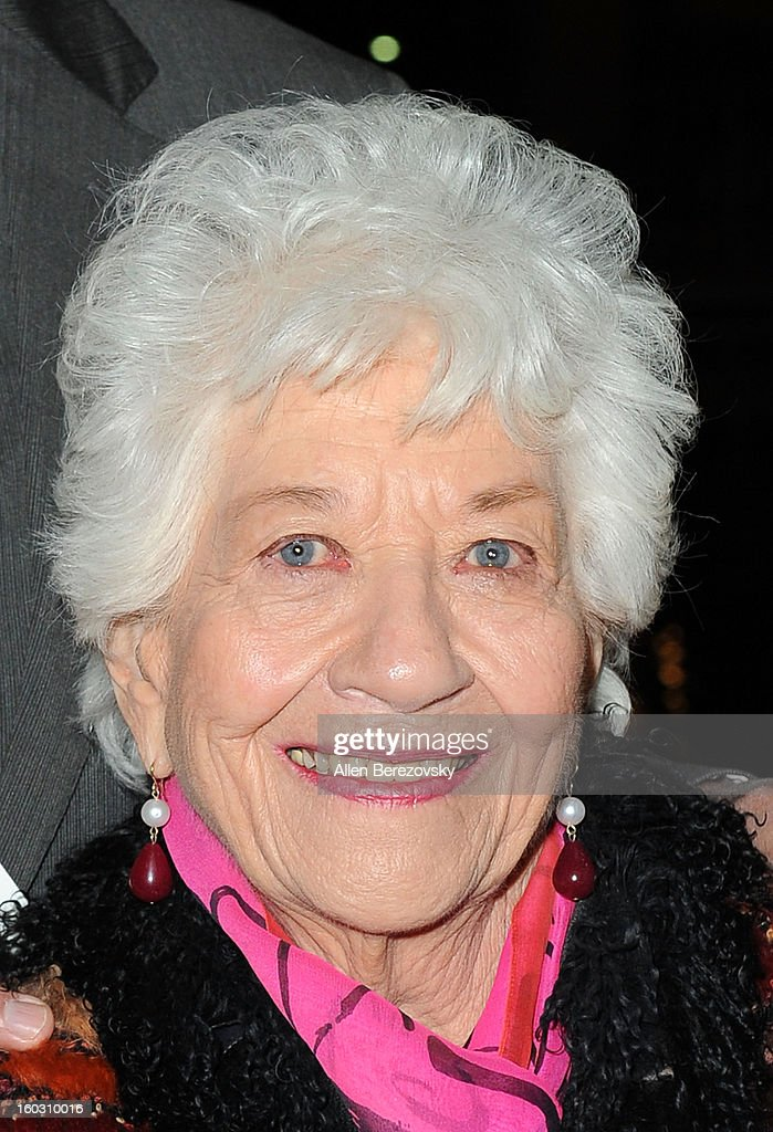 Actress Charlotte Rae arrives at the 'Enter Laughing, The Musical' staged reading and benefit at Mark Taper Forum on January 28, 2013 in Los Angeles, California.