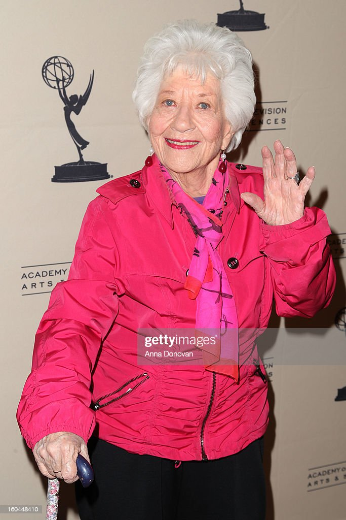 Actress <a gi-track='captionPersonalityLinkClicked' href=/galleries/search?phrase=Charlotte+Rae&family=editorial&specificpeople=757171 ng-click='$event.stopPropagation()'>Charlotte Rae</a> attends 'Retire From Showbiz:? No Thanks!' at the Academy of Television Arts & Sciences Conference Centre on January 31, 2013 in North Hollywood, California.