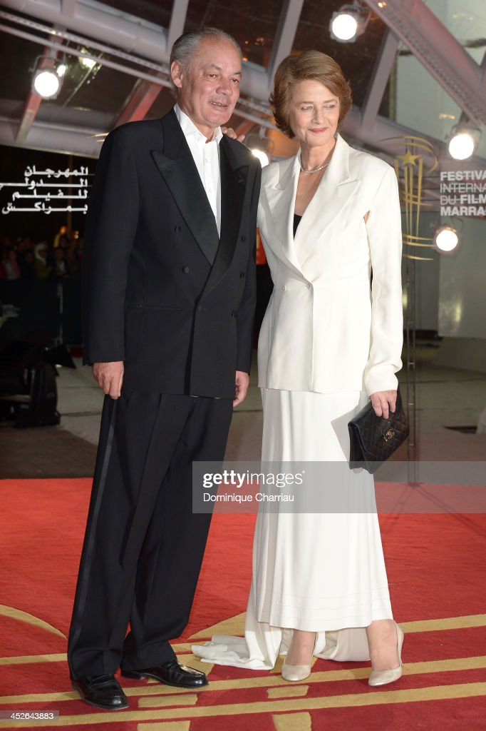 Actress <a gi-track='captionPersonalityLinkClicked' href=/galleries/search?phrase=Charlotte+Rampling&family=editorial&specificpeople=212770 ng-click='$event.stopPropagation()'>Charlotte Rampling</a> (R) and Jean-Noel Tassez attend the 'A Thousand Times Good Night' premiere during the 13th Marrakech International Film Festival on November 30, 2013 in Marrakech, Morocco.