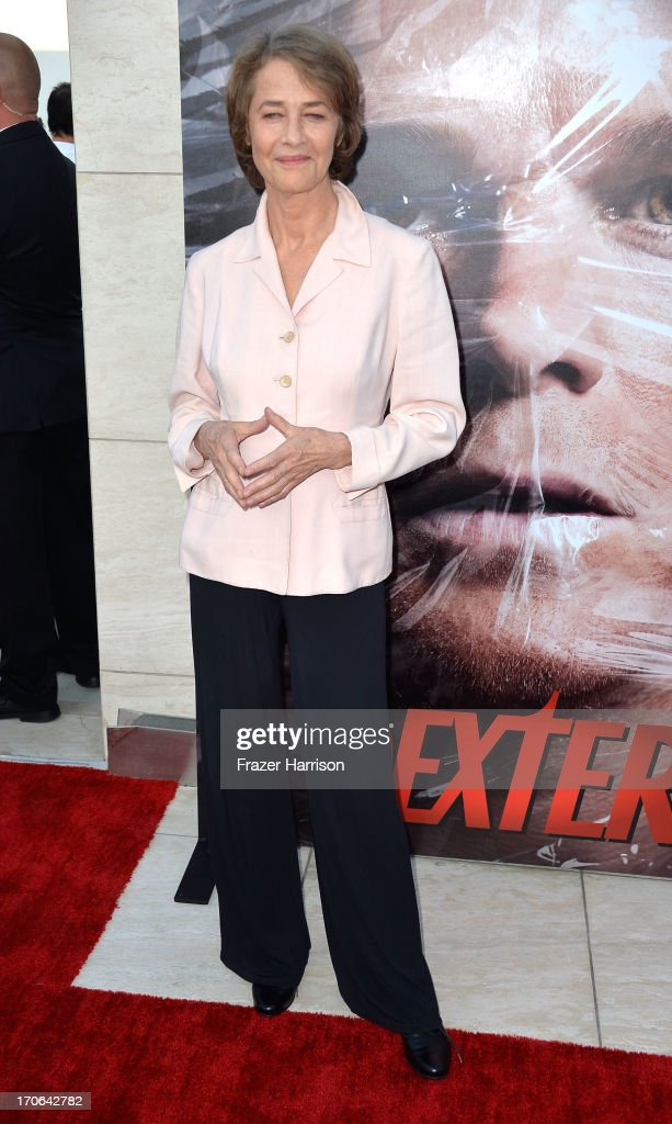 Actress <a gi-track='captionPersonalityLinkClicked' href=/galleries/search?phrase=Charlotte+Rampling&family=editorial&specificpeople=212770 ng-click='$event.stopPropagation()'>Charlotte Rampling</a> arrives at the Showtime Celebrates 8 Seasons Of 'Dexter' at Milk Studios on June 15, 2013 in Hollywood, California.