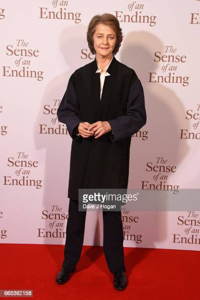 Actress Charlotte Rampling attends 'The Sense of an Ending' UK gala screening on April 6 2017 in London United Kingdom