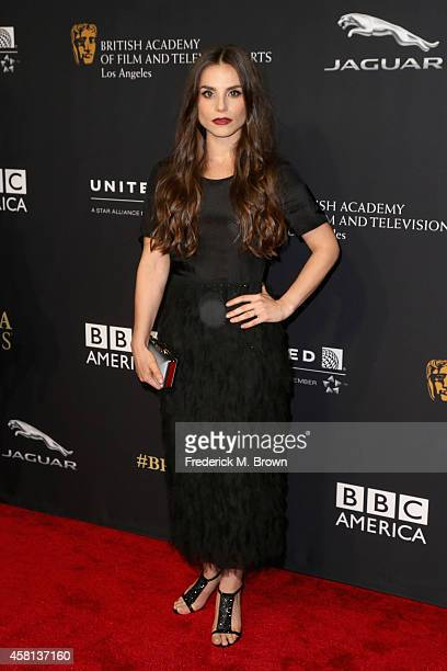 Actress Charlotte Riley wearing Burberry attends the BAFTA Los Angeles Jaguar Britannia Awards presented by BBC America and United Airlines at The...