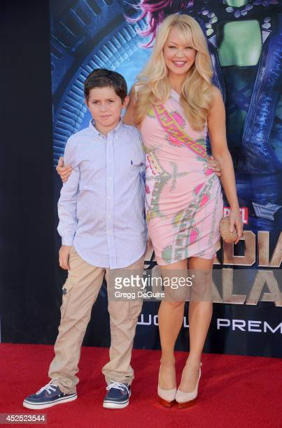 Actress Charlotte Ross and son Maxwell Ross Goldman arrive at the Los Angeles premiere of Marvel's 'Guardians Of The Galaxy' at the El Capitan...