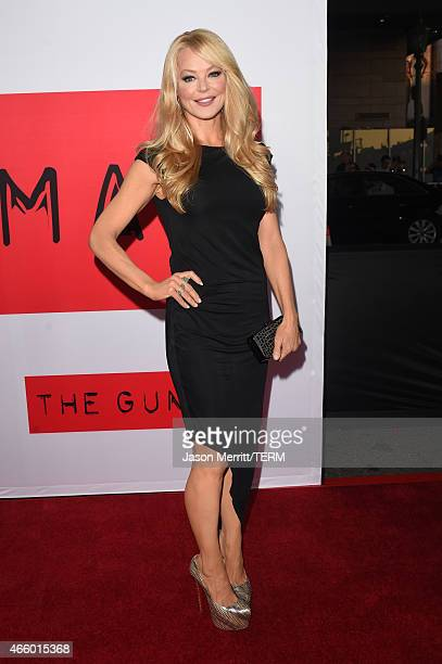 Actress Charlotte Ross attends the premiere of Open Road Films' 'The Gunman' at Regal Cinemas LA Live on March 12 2015 in Los Angeles California
