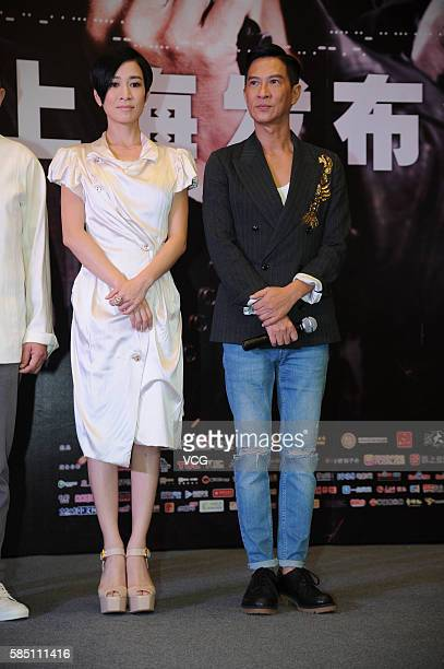 Actress Charmaine Sheh and actor Nick Cheung attend a press conference of movie version 'Line Walker' on August 1 2016 in Shanghai China