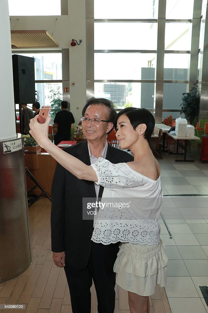 Actress Charmaine Sheh and TVB External Affairs deputy director Tsang Sing-ming attend the press conference of TVB drama 'Casino Heroes' on June 27, 2016 in Hong Kong, China.