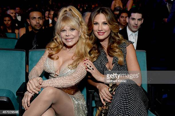 Actress Charo and TV personality Daisy Fuentes attend the 2014 NCLR ALMA Awards at the Pasadena Civic Auditorium on October 10 2014 in Pasadena...
