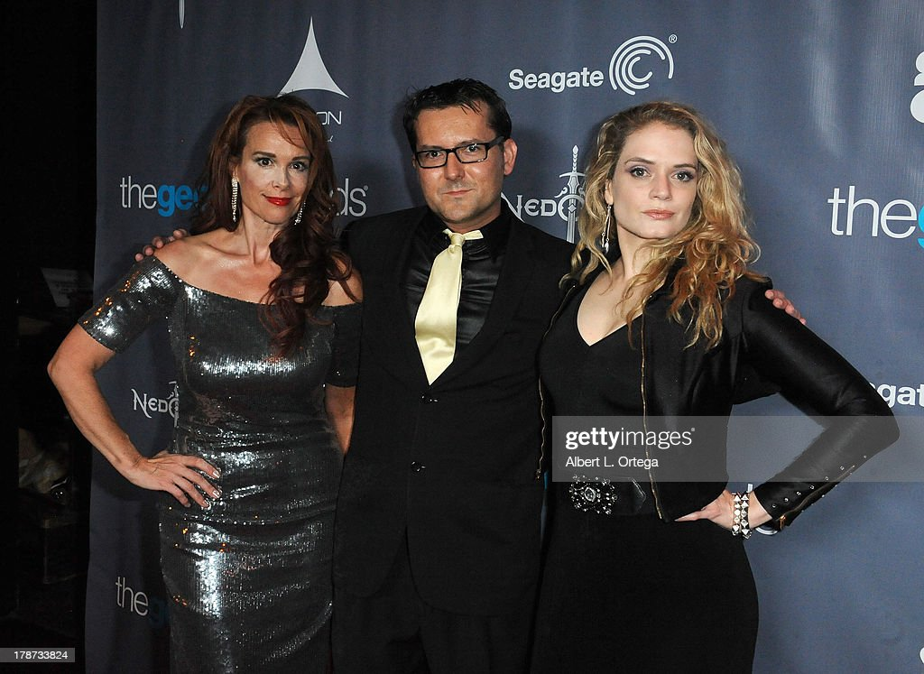 Actress <a gi-track='captionPersonalityLinkClicked' href=/galleries/search?phrase=Chase+Masterson&family=editorial&specificpeople=832427 ng-click='$event.stopPropagation()'>Chase Masterson</a>, director James Kerwin and actress Kipleigh Brown attend The 1st Annual Geekie Awards held at Avalon on August 18, 2013 in Hollywood, California.
