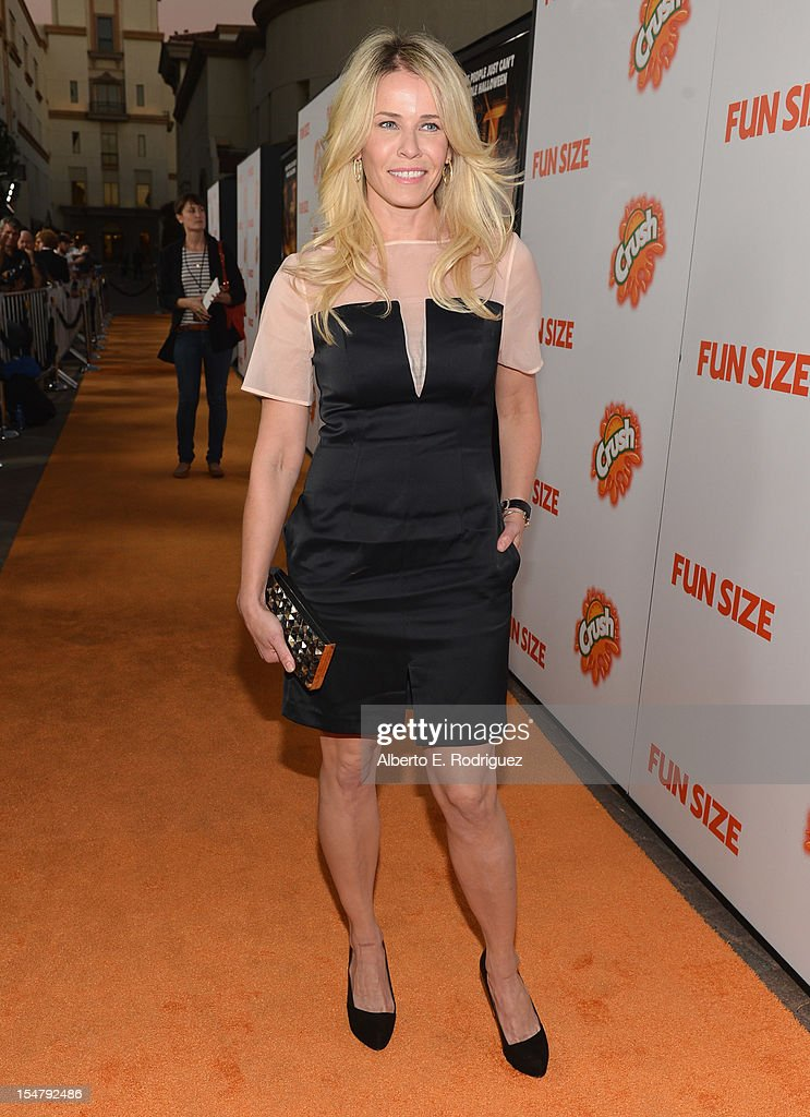 Actress Chelsea Handler arrives to the premiere of Paramount Pictures' 'Fun Size' at Paramount Theater on the Paramount Studios lot on October 25, 2012 in Hollywood, California.