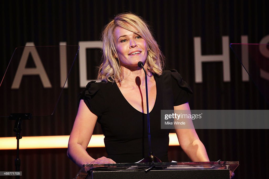 Actress <a gi-track='captionPersonalityLinkClicked' href=/galleries/search?phrase=Chelsea+Handler&family=editorial&specificpeople=599162 ng-click='$event.stopPropagation()'>Chelsea Handler</a> speaks at the 2013 amfAR Inspiration Gala Los Angeles presented by MAC Viva Glam at Milk Studios on December 12, 2013 in Los Angeles, California.