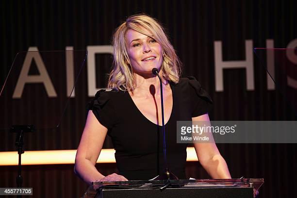 Actress Chelsea Handler speaks at the 2013 amfAR Inspiration Gala Los Angeles presented by MAC Viva Glam at Milk Studios on December 12 2013 in Los...