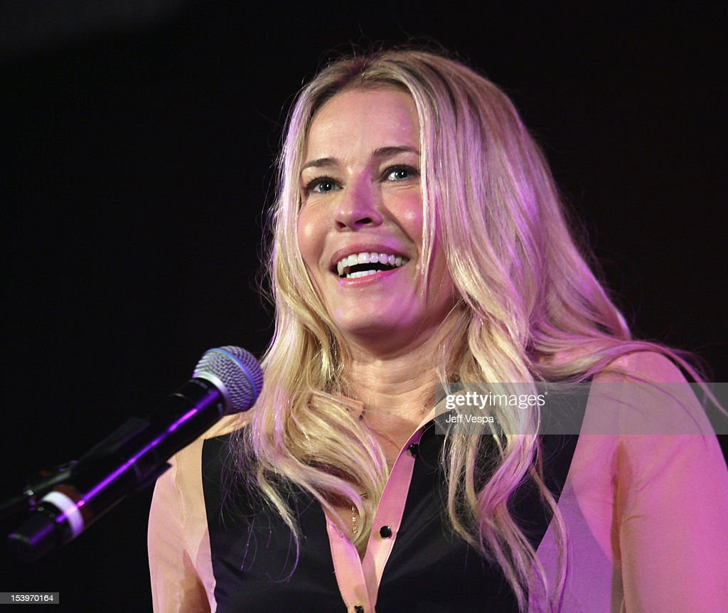Actress Chelsea Handler speaks onstage at amfAR's Inspiration Gala at Milk Studios on October 11, 2012 in Los Angeles, California.