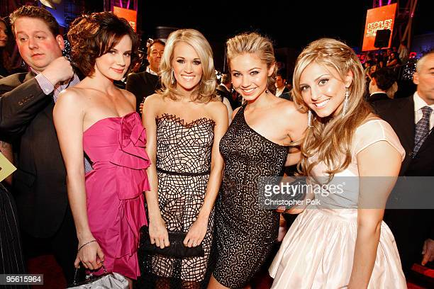 Actress Chelsea Hobbs singer Carrie Underwood actresses Ayla Kell and Cassie Scerbo arrive at the People's Choice Awards 2010 held at Nokia Theatre...