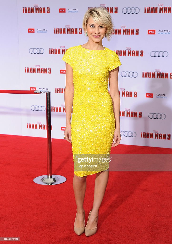 Actress Chelsea Kane arrives at the Los Angeles Premiere 'Iron Man 3' at the El Capitan Theatre on April 24, 2013 in Hollywood, California.