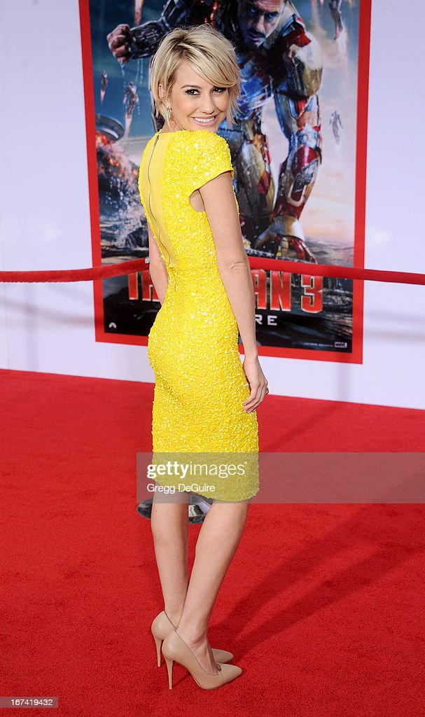 Actress Chelsea Kane arrives at the Los Angeles premiere of 'Iron Man 3' at the El Capitan Theatre on April 24, 2013 in Hollywood, California.