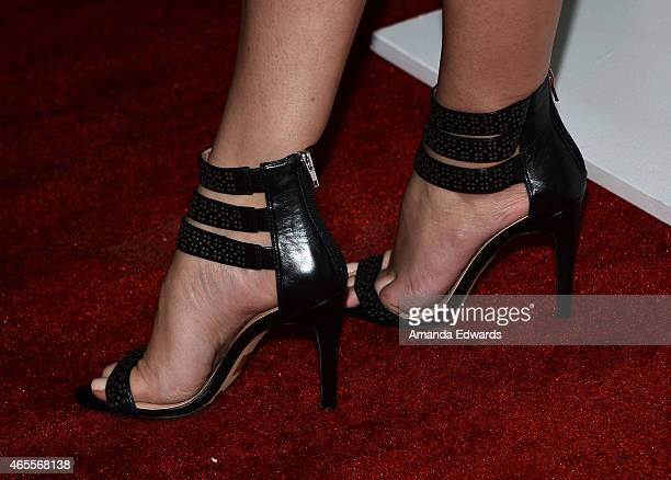 Actress Chelsea Kane shoe detail arrives at the Raising The Bar To End Parkinson's event at Public School 818 on March 7 2015 in Sherman Oaks...