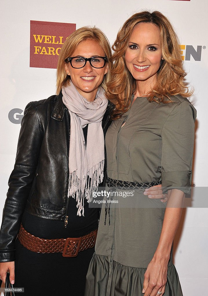 Actress <a gi-track='captionPersonalityLinkClicked' href=/galleries/search?phrase=Chely+Wright&family=editorial&specificpeople=1551982 ng-click='$event.stopPropagation()'>Chely Wright</a> (R) and guest arrive at the 8th annual GSLEN Respect Awards at Beverly Hills Hotel on October 5, 2012 in Beverly Hills, California.