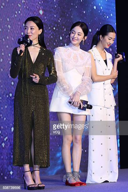 Actress Chen Shu and actress Guli Nazha attend the booting ceremony of Chinese TV series Fighter Of The Destiny at 22nd Shanghai TV Festival on June...
