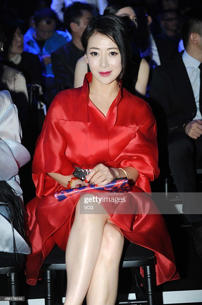 Actress Chen Zihan shows at the RanFan Collection show as part of MercedesBenz China Fashion Week Autumn/Winter Collection at Phoenix Center on March...