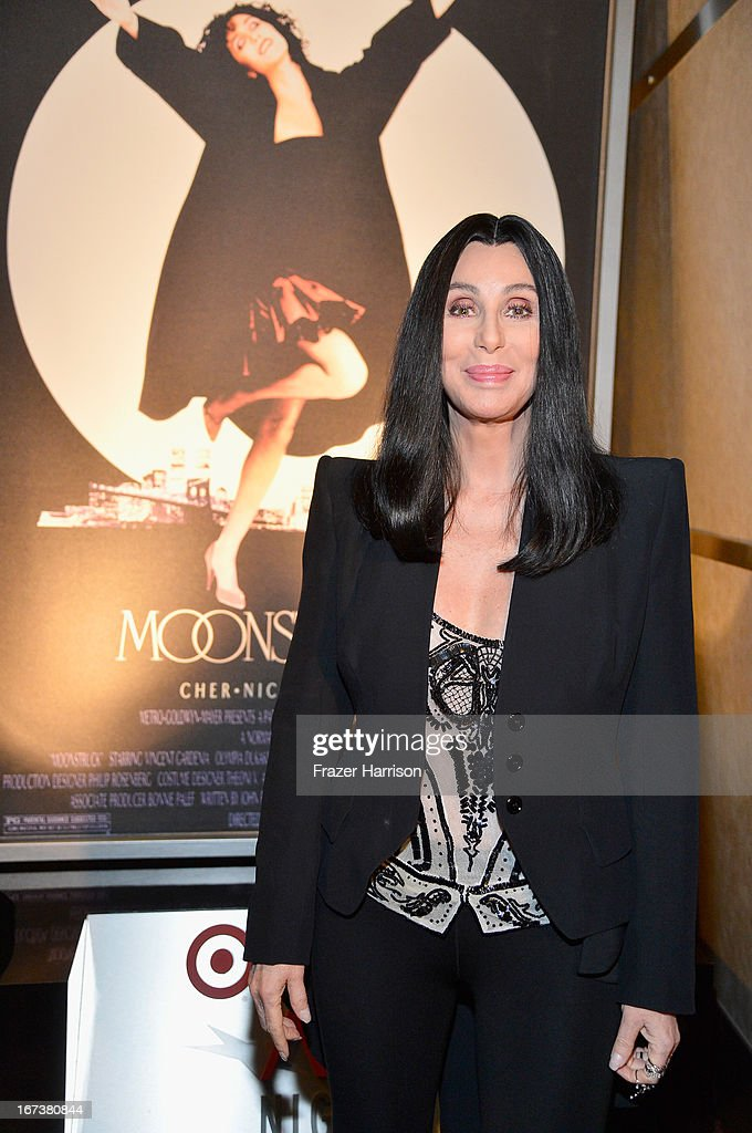 Actress <a gi-track='captionPersonalityLinkClicked' href=/galleries/search?phrase=Cher+-+Performer&family=editorial&specificpeople=203036 ng-click='$event.stopPropagation()'>Cher</a> attends screening of 'Moonstruck' at Target Presents AFI's Night at the Movies at ArcLight Cinemas on April 24, 2013 in Hollywood, California.