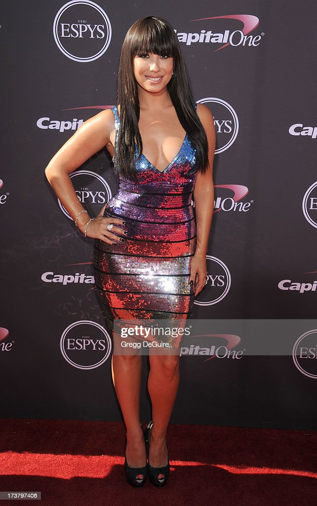 Actress <a gi-track='captionPersonalityLinkClicked' href=/galleries/search?phrase=Cheryl+Burke&family=editorial&specificpeople=540289 ng-click='$event.stopPropagation()'>Cheryl Burke</a> arrives at the 2013 ESPY Awards at Nokia Theatre L.A. Live on July 17, 2013 in Los Angeles, California.