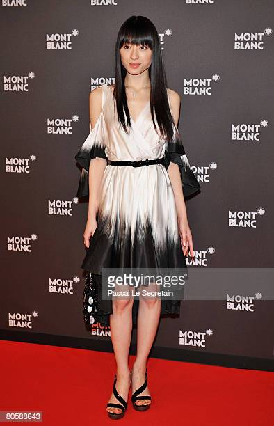 Actress Chiaki Kuriyama attends the 'Writing Time' Robert Wilson's watch launch gala hosted by Montblanc during the Salon International de la Haute...