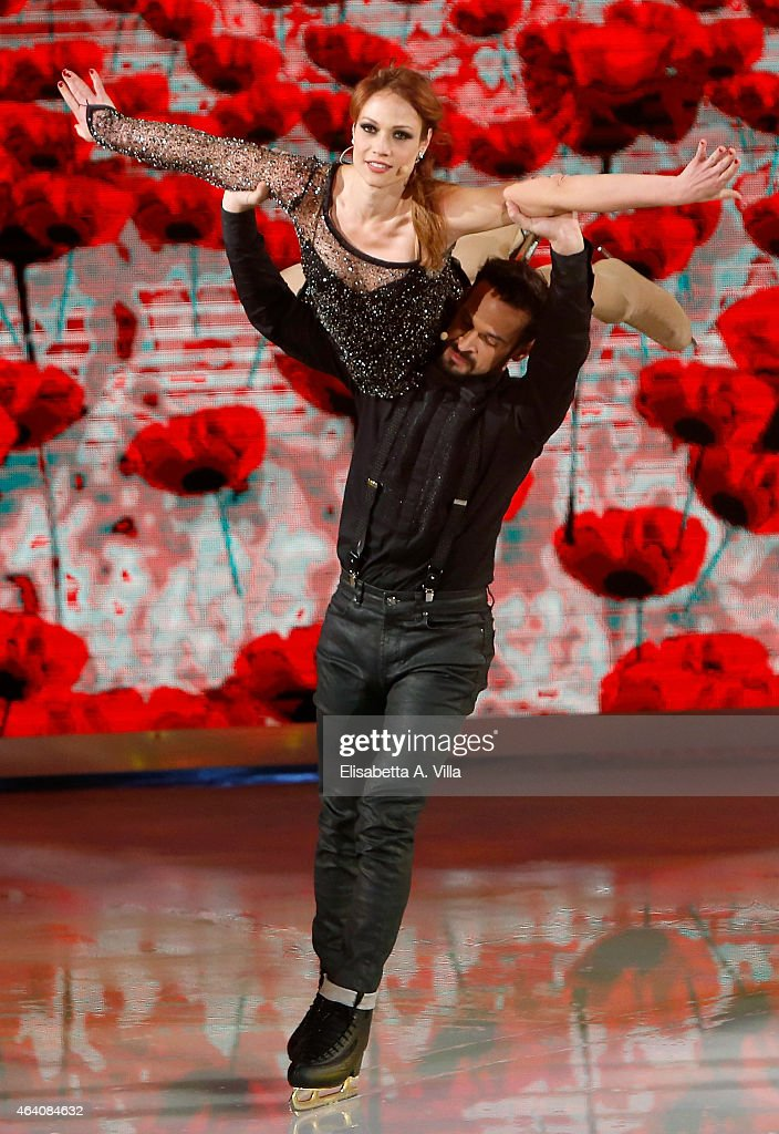 Actress Chiara Mastalli and her skating partner Federico Uslenghi perform during the 'Notti Sul Ghiaccio' TV Show at RAI Studios on February 21 2015...