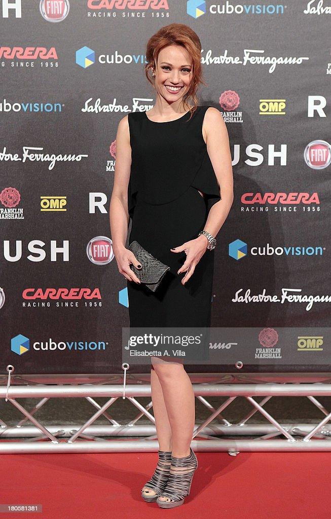 Actress Chiara Mastalli attends the 'Rush' premiere at Auditorium della Conciliazione on September 14, 2013 in Rome, Italy.