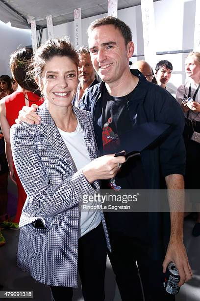 Actress Chiara Mastroianni and Fashion Designer Raf Simons pose Backstage after the Christian Dior show as part of Paris Fashion Week Haute Couture...