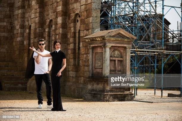 Actress Chiara Mastroianni and singer/songwriter Benjamin Biolay are photographed for Madame Figaro on April 5 2017 in Rome Italy Biolay Tshirt jeans...